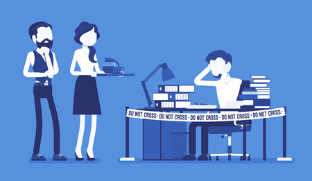 Do not cross office tape near the hardworking manager desk. Exhaust with too much work, weary stressed in deadline, employee in emotional strain, tension. Vector illustration with faceless characters