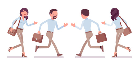 A Smart casual man and woman running Illustration