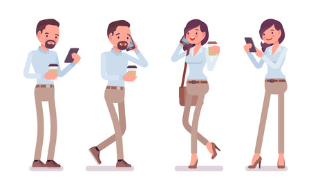 Smart middle aged man, woman in buttoned up shirt, camel skinny chino trousers, standing with smartphone. Business stylish workwear trend, office city fashion. Vector flat style cartoon illustration
