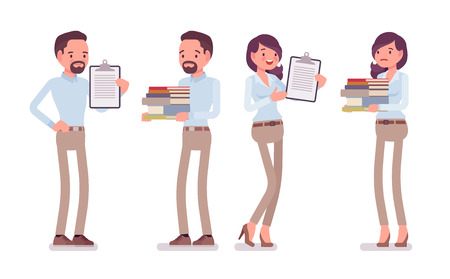 Smart middle aged man, woman in buttoned up shirt, camel skinny chino trousers, standing with paper files. Business stylish workwear trend, office city fashion. Vector flat style cartoon illustration
