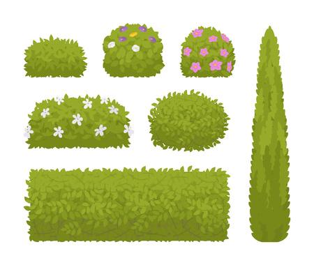 Green bushes set Vector illustration. 일러스트