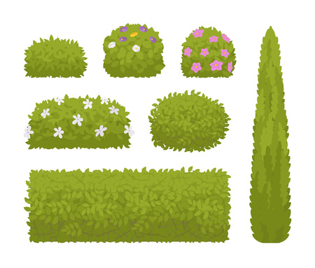 Green bushes set Vector illustration. Çizim