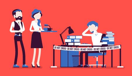 Do not cross office tape near the hardworking manager desk vector illustration