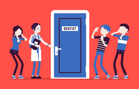Panic at dentist door  Vector illustration.