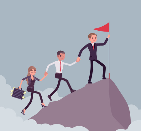 Team of successful business people conquering mountain market top. Company accomplishing a desired aim to reach highest, uppermost profit point, startup result. Vector flat style cartoon illustration