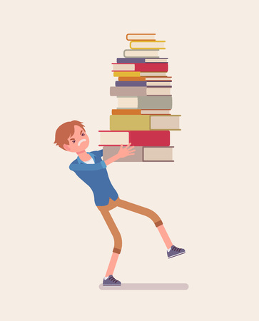 Boy holding a pile of books. Unhappy student annoyed with too much homework to do, heap of textbooks to read for test or exam, load with burden of information. Vector flat style cartoon illustration