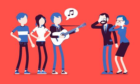 Ärgerlicher Musikkonflikt Vektorgrafik