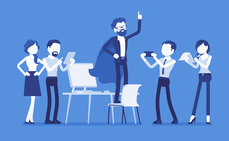 Office hero admired by his colleagues isolated on plain blue background. Ilustração