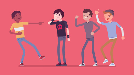 Teenager boy bullying and reaction Illustration