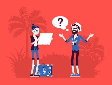 Lost tourists in a foreign country concept Stock Illustratie