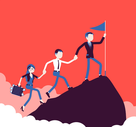Team of successful businesspeople conquering mountain market top Illustration