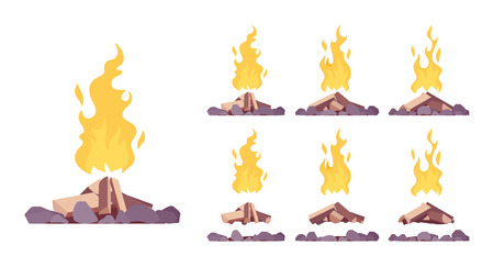 Bonfire construction set. Large fire built in open air with blazing combustion to burn leaves, garbage, as a tourist signal, hot bright stream to warm and cook. Vector flat style cartoon illustration Vektoros illusztráció
