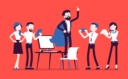 Office hero admired by colleagues for courage, outstanding business achievements, extraordinary sale, market powers, manager in superhero cloak boasting. Vector illustration with faceless characters