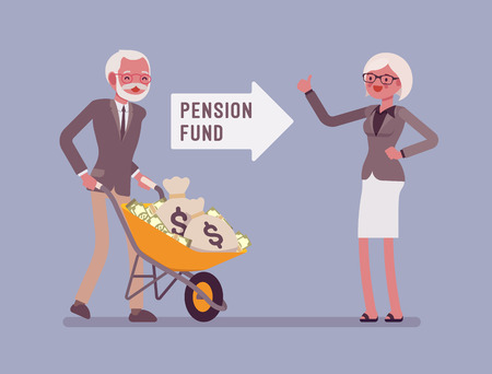 Pension fund investment. Old man pushing money cart, financial system for senior citizen to get help from government, guaranteed support and social security. Vector flat style cartoon illustration