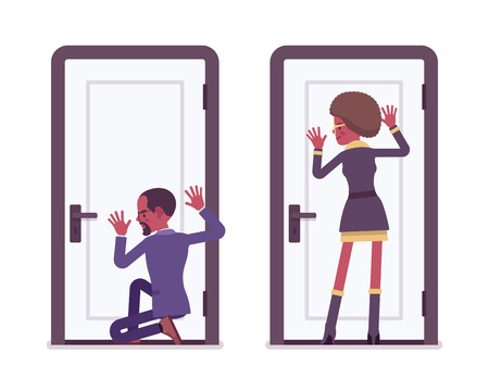 Secret agent black man and woman, spies eavesdropping Illustration