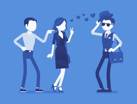 Boyfriend feeling jealous  イラスト・ベクター素材