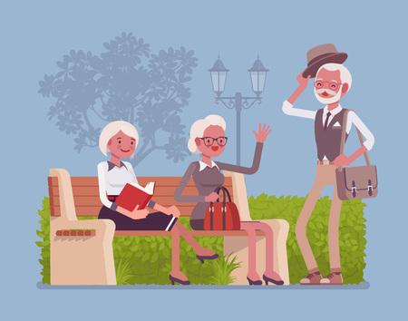 Active seniors in park