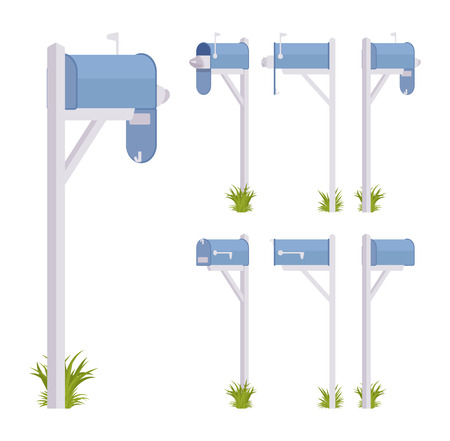 Blue mailbox set. Steel box near a dwelling, street corner for mail, to put and get a letter, with indicator. Landscape architecture and urban design concept. Vector flat style cartoon illustration 일러스트