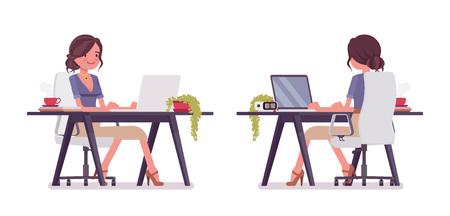Sexy secretary working at desk