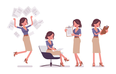 Sexy secretaresse bezig met papierwerk geïsoleerd op een witte achtergrond