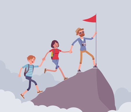 Group of tourists conquering mountain top Illustration