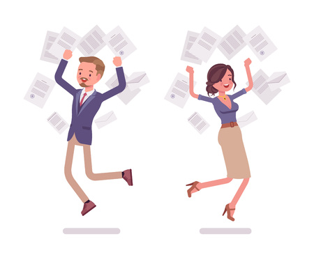 Male and female office secretary happy throwing papers Stock Illustratie