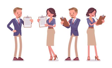 Secretaria de oficina masculina y femenina con portapapeles