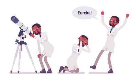 Male black scientist happy with eureka result