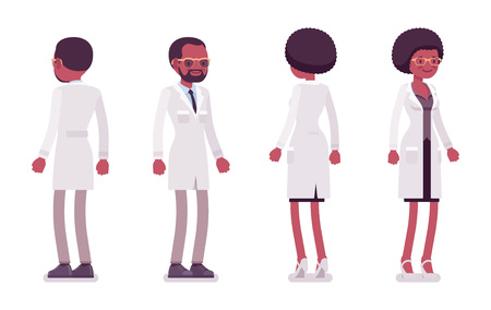 Male and female black scientist standing