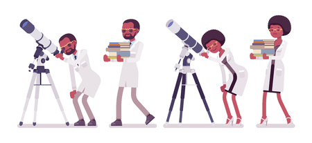 Male and female black scientist with telescope