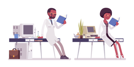 Male and female black scientist working