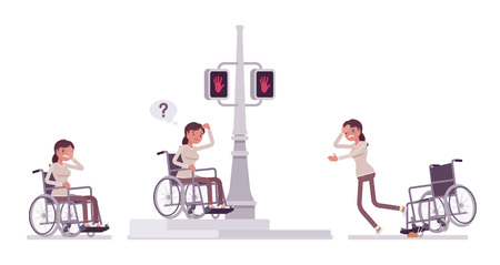 Female young wheelchair user in negative city street emotions