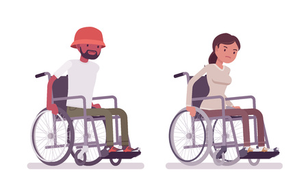 Male, female young wheelchair user moving manual chair Ilustração