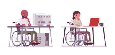 Male and female young wheelchair user working with computer
