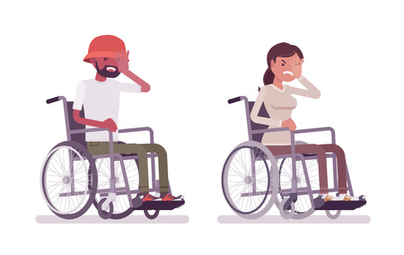 Male, female young wheelchair user face palm gesture