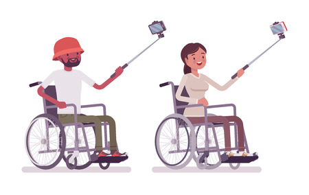 Male and female young wheelchair user taking selfie