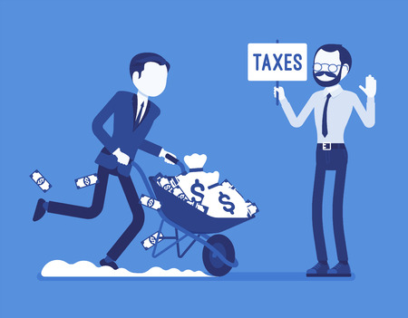 Tax evasion attempt. Young man try to commit crime of not paying the full amount of taxes, running away with money. Vector illustration, faceless characters. Business and marketing management concept
