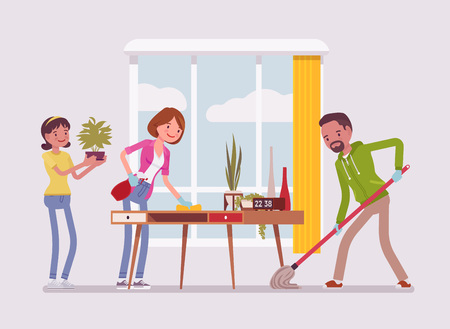Family cleaning the house. People doing together regular light work of a household, housekeeping management of duties and chores. Vector flat style cartoon illustration isolated on white background Ilustração