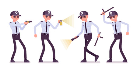 Male security guard at work. Uniformed officer, protective agent with electroshock, flash light. Public, private city safety concept. Vector flat style cartoon illustration, isolated, white background 일러스트