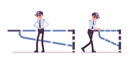 Male security guard at mechanical barrier. Uniformed officer, protective agent watches entrance. Public, private city safety concept. Vector flat style cartoon illustration, isolated, white background