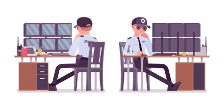 Männlicher Wachmann überwacht Alarmsysteme. Uniformierter Beamter oder Bewacher. Öffentliches, privates Sicherheitskonzept für die Stadt. Vector flache Karikaturillustration, lokalisiert auf weißem Hintergrund Vektorgrafik