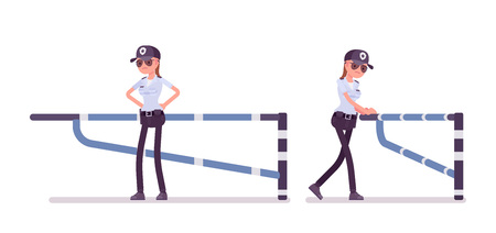 Female security guard at mechanical barrier. Uniformed, protective agent watches entrance. Public and private city safety concept. Vector flat style cartoon illustration, isolated, white background