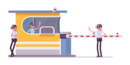 Female security guard at toll booth. Uniformed officer, protective agent on gate stops drivers. Public, private city safety concept. Vector flat style cartoon illustration, isolated, white background