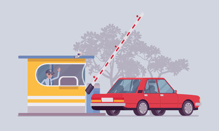 Car at toll booth. Vehicle passing open gate on road, highway, barrier for drivers to stop and pay toll. City street beautification, urban design concept. Vector flat style cartoon illustration
