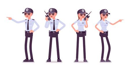 Guardia de seguridad masculino y femenino. Oficial uniformado, agente con radio portátil. Concepto de seguridad de la ciudad pública y privada. Ilustración de dibujos animados de estilo plano de vector, aislado sobre fondo blanco, delantero, trasero