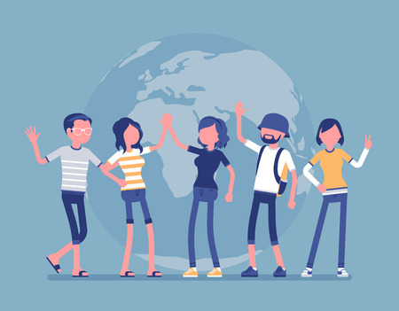 International friendship team. Good relationship between friends of different nations, young happy people of earth working and living together. Vector illustration, faceless characters