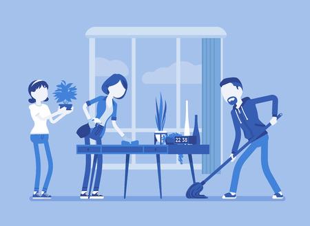 Famille nettoyant la maison. Les personnes effectuant ensemble des travaux légers réguliers d'un ménage, la gestion des tâches ménagères et des tâches ménagères. Illustration vectorielle, personnages sans visage