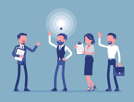 Ideenmanagement. Ideenfindungsprozess, Menschen generieren, entwickeln und kommunizieren neue helle Pläne für Unternehmen. Vektorillustration, gesichtslose Zeichen. Business, Marketing Management Konzept Vektorgrafik