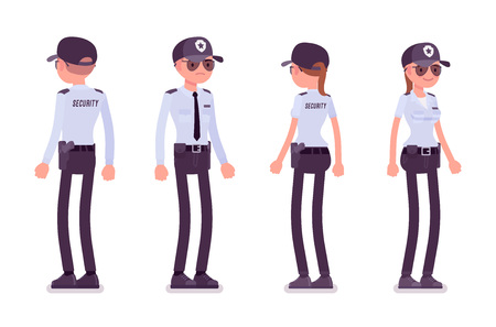 Male, female security guard. Uniformed officer or protective agent standing. Public and private city safety concept. Vector flat style cartoon illustration, isolated on white background, front, rear
