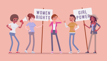 Feminists social movement. Young female people supports feminism with placards, organized activity for women rights and interests, equality of sexes campaign. Vector flat style cartoon illustration Banque d'images - 104820562